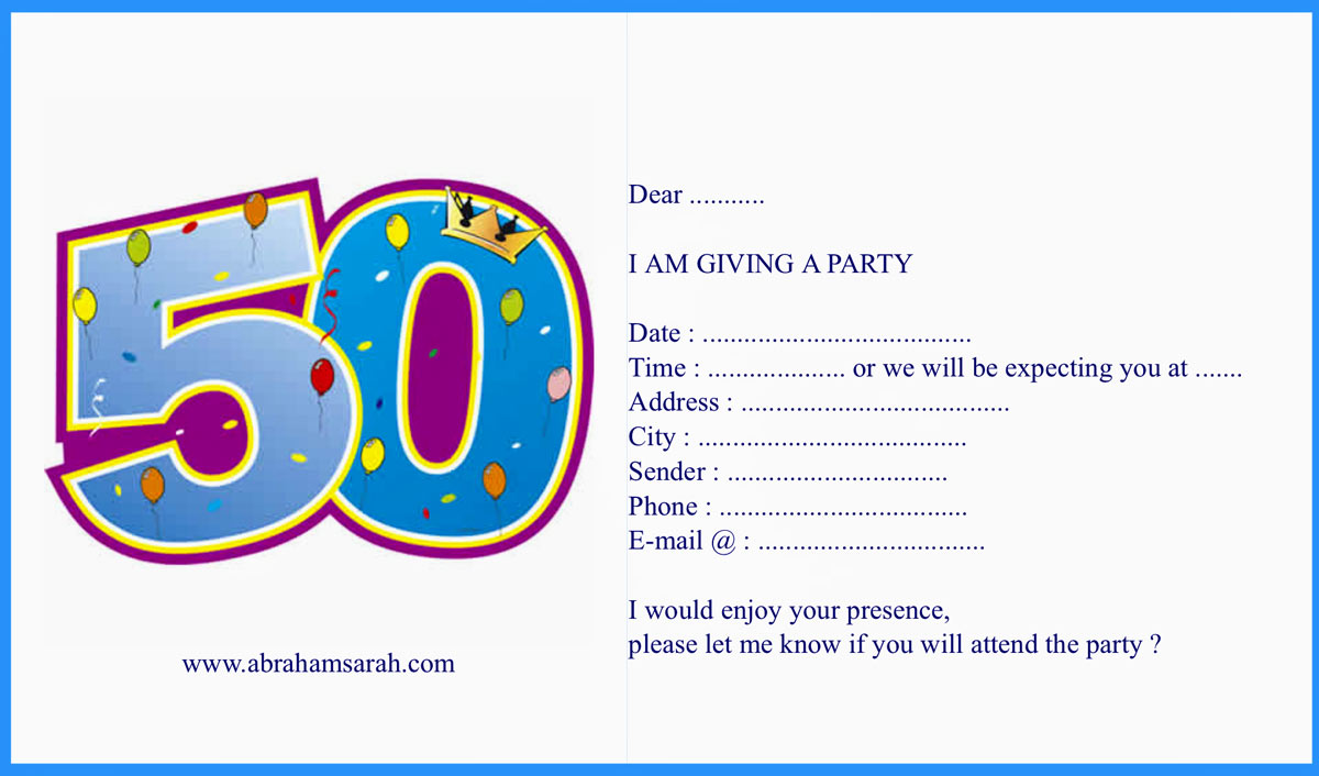Birthday Invitation Example Card